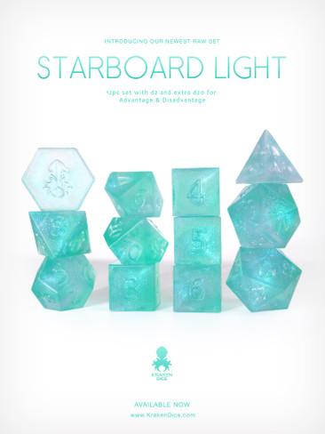 RAW Starboard Light 12pc Glitter RPG Dice Set