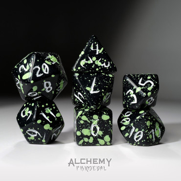 The Mountain Wizard - Primeval: Black and Green with White Ink 7pc Custom Font Polyhedral Dice Set