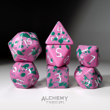 The Electric Angel - Primeval: Black and Green with White Ink 7pc Custom Font Polyhedral Dice Set