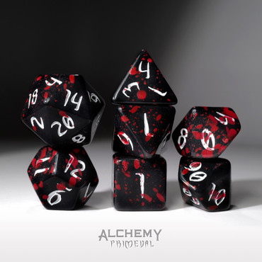 The Red Rain of Pain - Primeval: White and Red with Black Ink 7pc Custom Font Polyhedral Dice Set