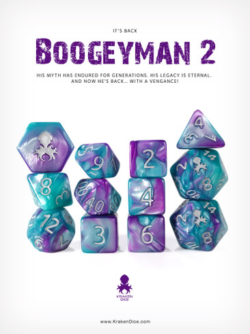 BoogeyMan 2 12pc RPG Dice Set with Silver Ink