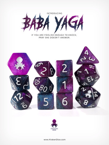 Baba Yaga 12pc RPG Dice Set with Silver Ink
