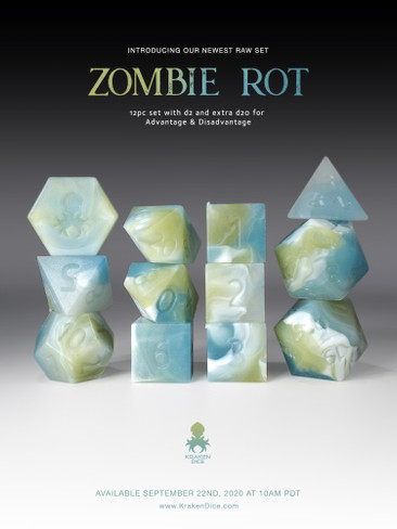 RAW Zombie Rot 12pc Glow in the Dark RPG Dice Set