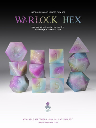 RAW Warlock Hex 12pc Glow in the Dark RPG Dice Set
