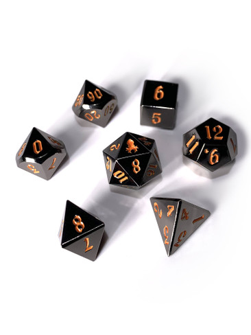 Mini Abyssal Dark Rite 10mm Metal Dice Set for RPGS