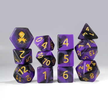 12pc Purple and Black Gummi Polyhedral Dice Set