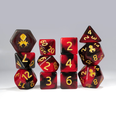 12pc Red and Black Gummi Polyhedral Dice Set