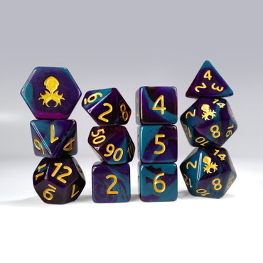 12pc Purple and Blue Gummi Polyhedral Dice Set