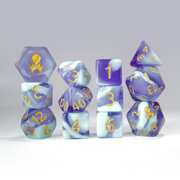 12pc Light Blue and Blue Gummi Polyhedral Dice Set