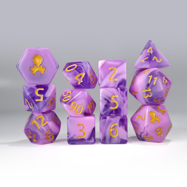 12pc Purple and Pink Gummi Polyhedral Dice Set