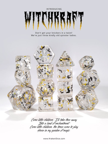 WitchKraft Silver Ink 14pc Limited Edition Dice Set