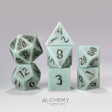 Primeval:Slate with Black Ink 7pc Custom Font Polyhedral Dice Set