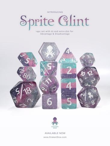 Sprite Glint 14pc Silver Ink Dice Set
