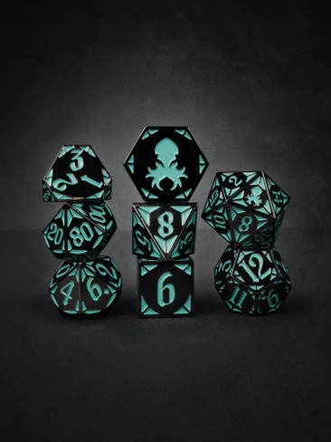 Goddess' Dark Rite  8pc Black with Teal TTRPG Dice Set