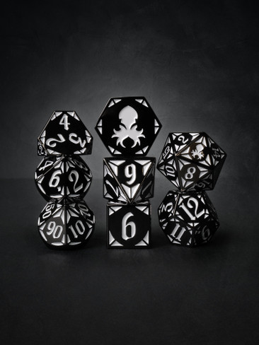 Paladin's Dark Rite  8pc Black with White TTRPG Dice Set