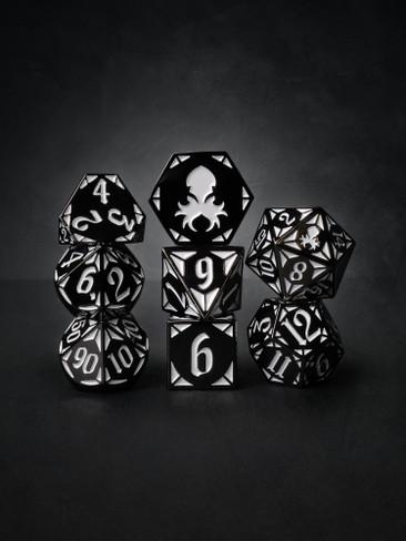 Paladin's Dark Rite  8pc Black with White TTRPG Dice Set