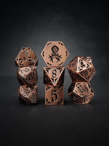 Fullmetal Gothik Copper 8pc TTRPG Dice Set
