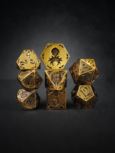 Fullmetal Gothik Brass 8pc TTRPG Dice Set