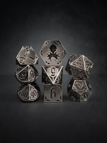 Fullmetal Gothik Steel 8pc TTRPG Dice Set