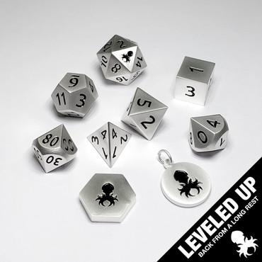 Satin Silver Metal RPG Dice Set