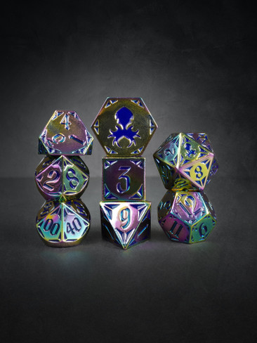 Fullmetal Gothik Flame 8pc Blue Enamel TTRPG Dice Set