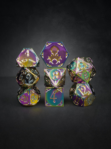 Fullmetal Gothik Fire 8pc TTRPG Dice Set
