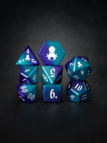 Vulcan: Dragon Knight 8pc Blue and Purple Precision Aluminum TTRPG Dice Set