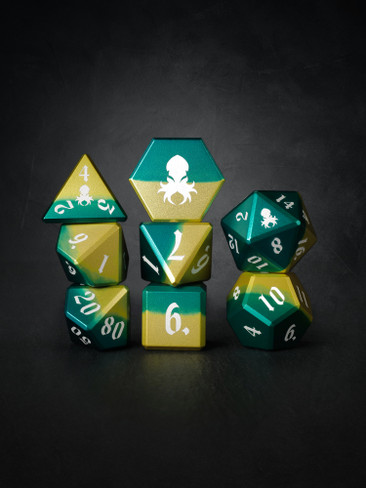 Vulcan: Sylvan Knight 8pc Green and Yellow  Aluminum TTRPG Dice Set