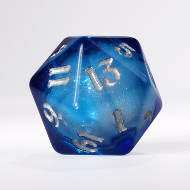 Dark Blue Liquid Core Single D20 with Silver Ink