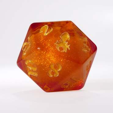 Orange Liquid Core Single D20 with Gold Ink