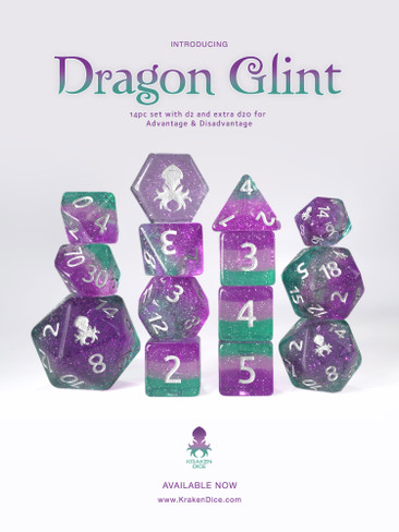 Dragon Glint 14pc Silver Ink Glitter Dice Set
