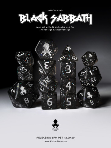 Black Sabbath  Hologlitter Dice Set with Silver Ink
