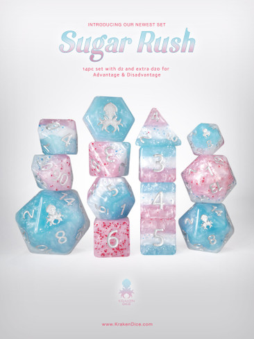 Sugar Rush Speckled Dice Set with Silver Ink