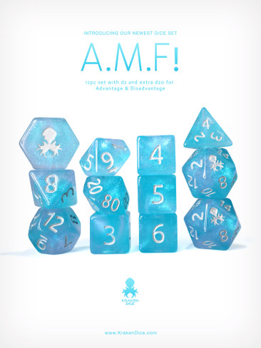 A.M.F! 12pc Glitter RPG Dice Set