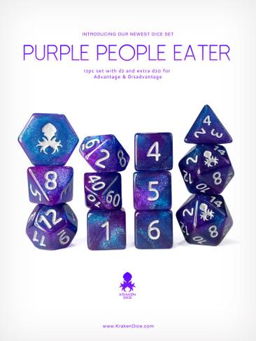 Purple People Eater 12pc Glitter RPG Dice Set