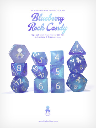 Kraken's Blueberry Rock Candy 12pc Polyhedral Dice Set