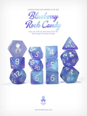 Kraken's Blueberry Rock Candy 12pc Polyhedral Dice Set