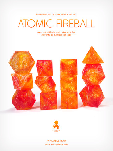 Kraken's RAW Atomic Fireball 12pc Polyhedral Dice Set