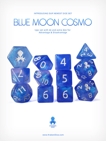 Kraken's Blue Moon Cosmo 12pc Polyhedral Dice Set