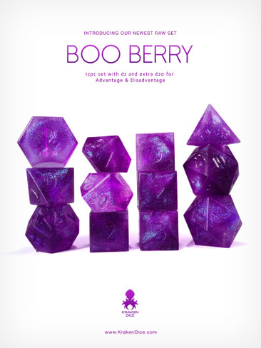 Kraken's RAW Boo Berry 12pc Polyhedral Dice Set