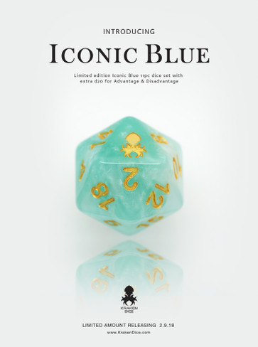 Iconic Blue 11pc Dice Set With Kraken Logo