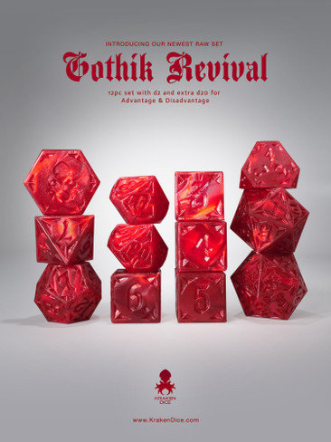 RAW Red Gothik Revival  RPG 12pc Dice Set
