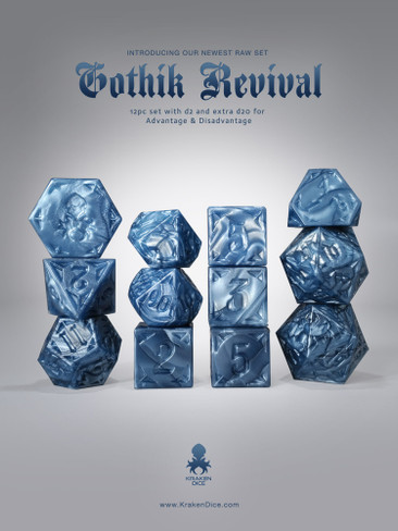 RAW Blue Gothik Revival  RPG 12pc Dice Set