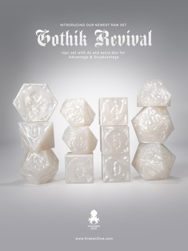RAW White Gothik Revival  RPG 12pc Dice Set