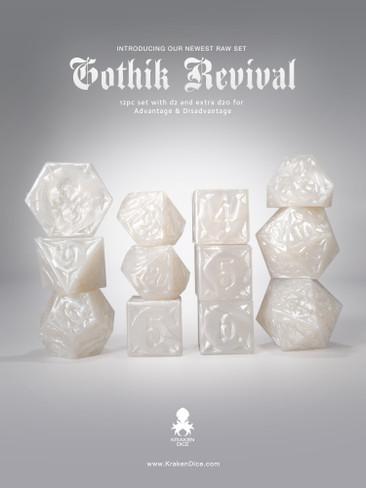 RAW White Gothik Revival  RPG 12pc Dice Set