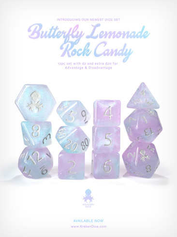 Kraken's Butterfly Lemonade Rock Candy 12pc Polyhedral Dice Set
