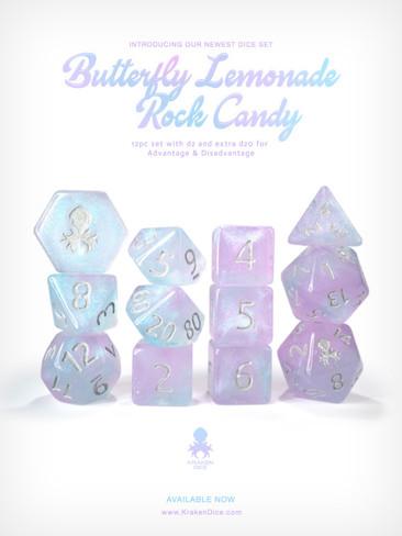 Kraken's Butterfly Lemonade Rock Candy 12pc Polyhedral Dice Set