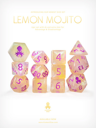 Lemon Mojito 12pc Glitter RPG Dice Set
