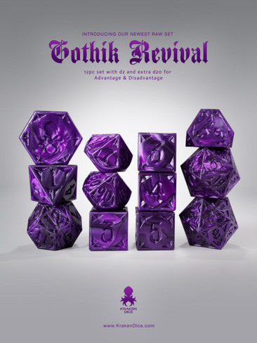 RAW Purple Gothik Revival  RPG 12pc Dice Set