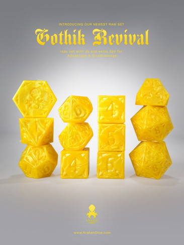 RAW Yellow Gothik Revival  RPG 12pc Dice Set